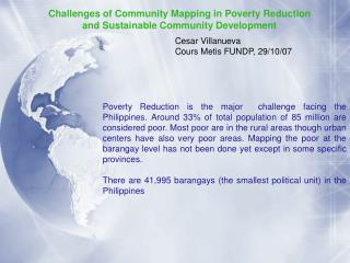 Challenges of Community Mapping in Poverty Reduction  and Sustainable Community Development