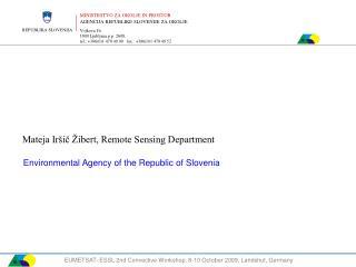 Mateja Iršič Žibert, Remote Sensing Department