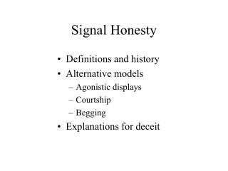 Signal Honesty