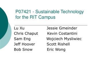 P07421 - Sustainable Technology for the RIT Campus