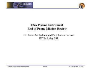 ESA Plasma Instrument End of Prime Mission Review