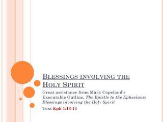 Blessings involving the Holy Spirit