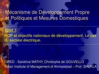 Mécanisme de Développement Propre et Politiques et Mesures Domestiques
