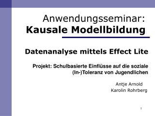 Datenanalyse mittels Effect Lite  Projekt: Schulbasierte Einfl sse auf die soziale         In-Toleranz von Jugendlichen