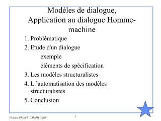 Modèles de dialogue, Application au dialogue Homme-machine