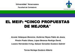 """EL MEIF: """"CINCO PROPUESTAS DE MEJORA """""""