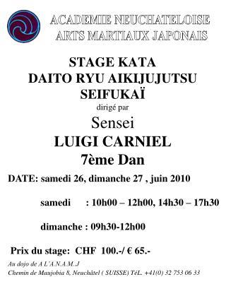 STAGE KATA  DAITO RYU AIKIJUJUTSU SEIFUKA  dirig  par Sensei LUIGI CARNIEL 7 me Dan