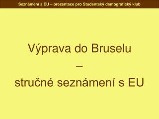 V�prava do Bruselu � stru?n� sezn�men� s EU