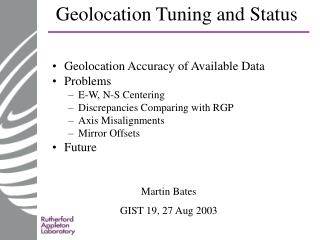 Geolocation Tuning and Status