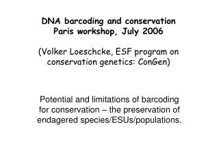 DNA barcoding and conservation