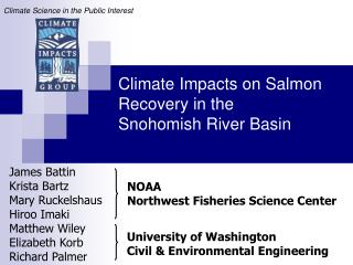 Climate Impacts on Salmon Recovery in the  Snohomish River Basin