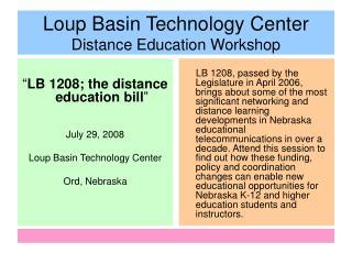 Loup Basin Technology Center Distance Education Workshop