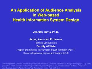 An Application of Audience Analysis in Web-based  Health Information System Design