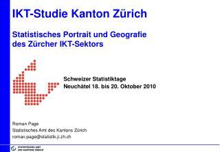 IKT-Studie Kanton Zürich Statistisches Portrait und Geografie des Zürcher IKT-Sektors