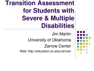 Transition Assessment for Students with Severe & Multiple Disabilities