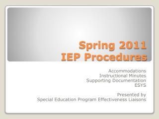Spring 2011   IEP Procedures