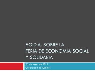 F.O.D.A. sobre la  FERIA de ECONOMIA SOCIAL y SOLIDARIA