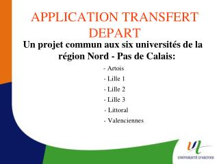 APPLICATION TRANSFERT DEPART