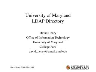 University of Maryland LDAP Directory