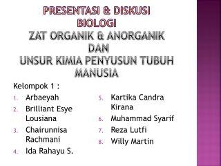 Presentasi  & DISKUSI BIOLOGI ZAT ORGANIK & ANORGANIK  DAN UNSUR KIMIA PENYUSUN TUBUH MANUSIA