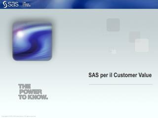 SAS per il Customer Value