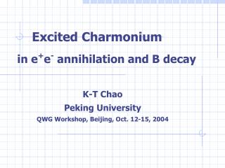 Excited Charmonium   in e + e -  annihilation and B decay