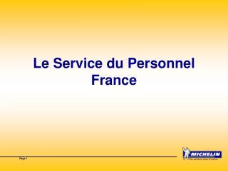Le Service du Personnel France
