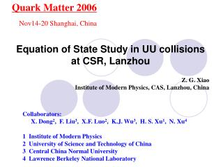 Equation of State Study in UU collisions  at CSR, Lanzhou