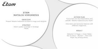 ETAM NATALIA VODIANOVA OBJECTIVE Present Natalia Vodianova as Etam's image and designer