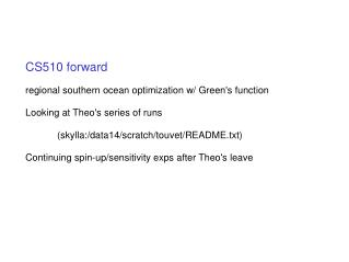 CS510 forward regional southern ocean optimization w/ Green's function