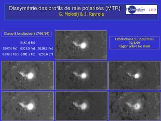 Dissym�trie des profils de raie polaris�s (MTR)                         G. Molodij & J. Rayrole