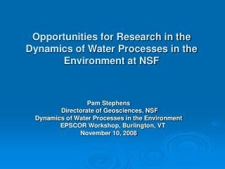 Opportunities for Research in the Dynamics of Water Processes in the Environment at NSF