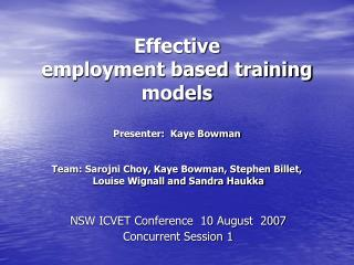 NSW ICVET Conference  10 August  2007  Concurrent Session 1