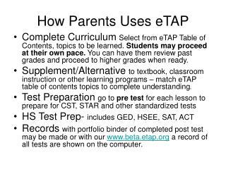 How Parents Uses eTAP