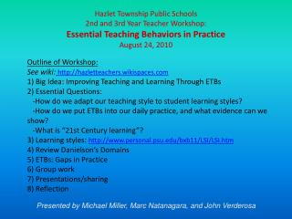 Hazlet Township Public Schools  2nd and 3rd Year Teacher Workshop: