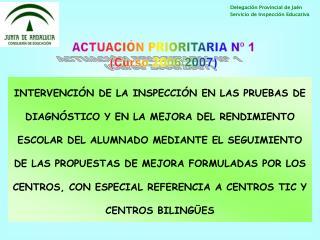 ACTUACIÓN PRIORITARIA Nº 1 (Curso 2006/2007)