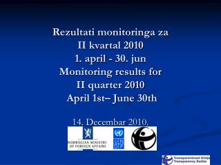 Rezultati monitoringa za  II kvartal 2010 1. april - 30. jun Monitoring results for  II quarter 2010  April 1st  June 30