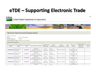 eTDE �  Supporting  Electronic Trade