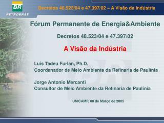 F�rum Permanente de Energia&Ambiente Decretos 48.523/04 e 47.397/02 A Vis�o da Ind�stria