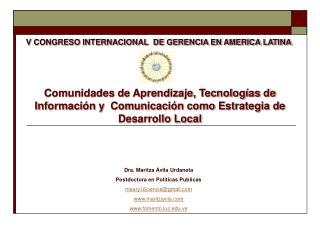 V CONGRESO INTERNACIONAL  DE GERENCIA EN AMERICA LATINA