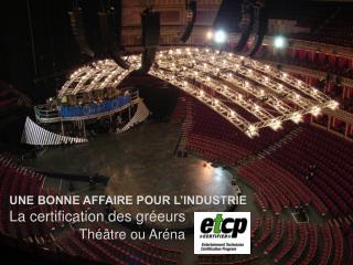 UNE BONNE AFFAIRE POUR L'INDUSTRIE  La certification des gréeurs Théâtre ou Aréna