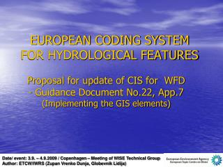 EUROPEAN CODING SYSTEM FOR HYDROLOGICAL FEATURES