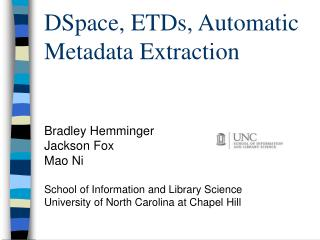 DSpace, ETDs, Automatic Metadata Extraction