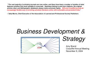 Business Development & Strategy