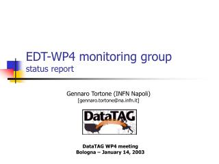 EDT-WP4 monitoring group status report