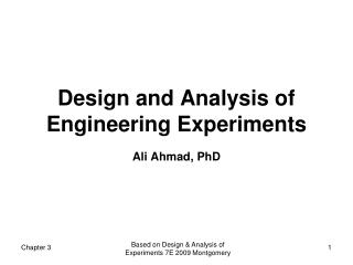 Design and Analysis of Engineering Experiments