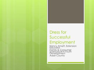 Dress for Successful Employment
