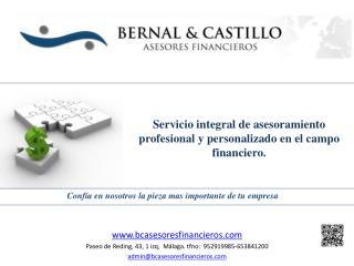 Servicio  integral de asesoramiento profesional y  personalizado en  el campo financiero .