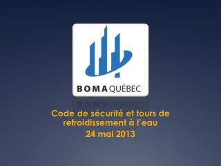 Code de sécurité et tours de refroidissement à l'eau 24 mai 2013