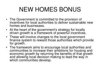 NEW HOMES BONUS